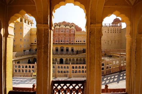 view through the windows of the hawa mahal india