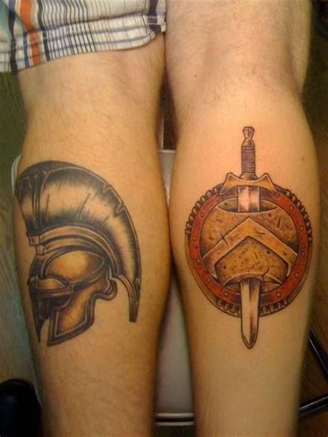 spartan helmet shield and sword pairodicetattoos com