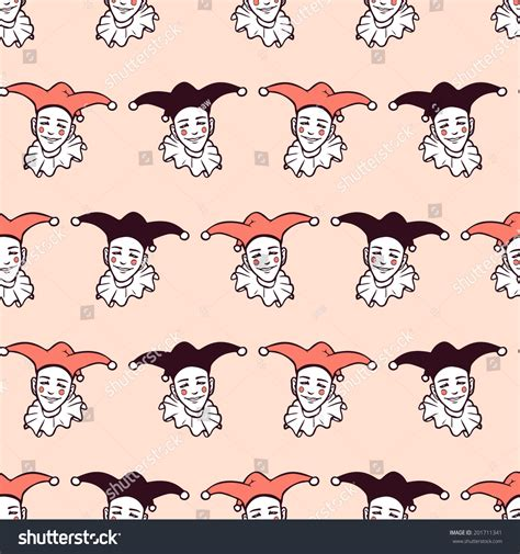 drawing harlequin pattern seamless pattern harlequin faces vector seamless stock