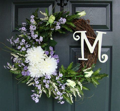Front Door Monogram Wreath Wreath Door Monogram Summer Wreaths From Homehearthgarden