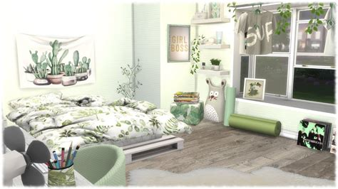 sims  speed build green themed bedroom cc links youtube