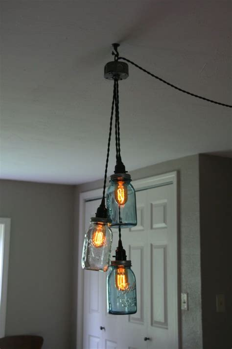 Diy 3 Jar Chandelier Swag Light Mason Jar Hanging Swag Pendant Lighting
