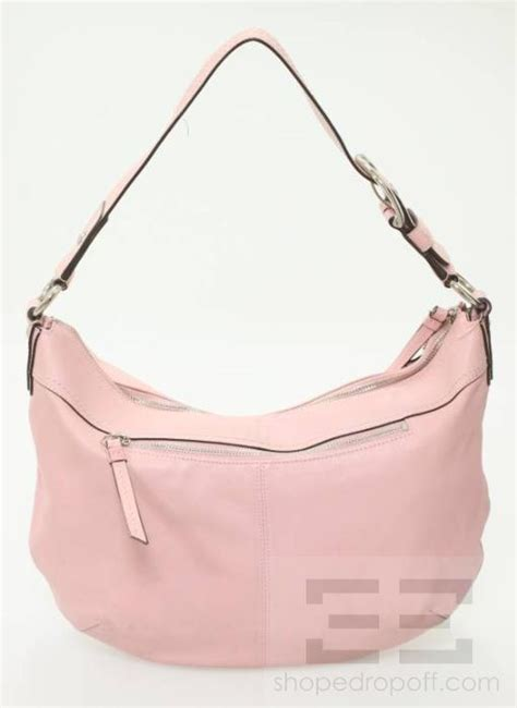 coach light pink leather and silver detail hobo bag ebay