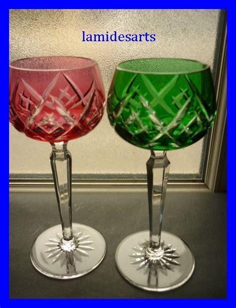 bicchieri boemia 2 bicchieri di cristallo coloriati di boemo