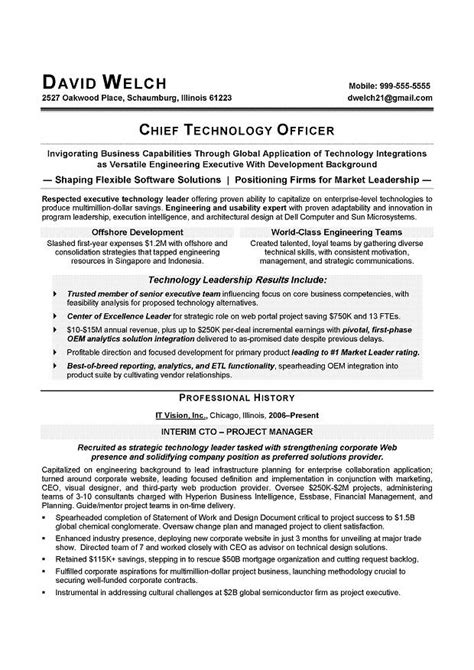 Sle Resume For Technical Marketing Cto Resume Sle 28 Images Chief Technical Architect Resume It Executive Resume Resume Exles