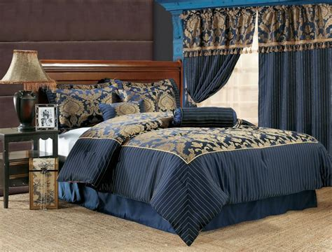 Blue And Gold Bedding Sets 7pcs Royal Floral Bedding Comforter Set Navy Navy Blue Comforter Blue Comforter Sets