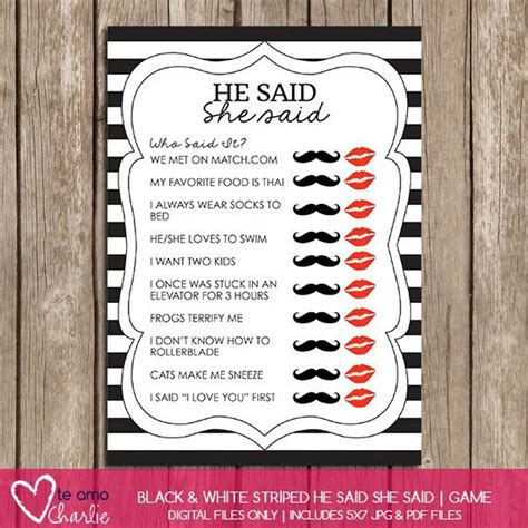 free printable personalized bridal shower games he said she said personalized bridal shower game