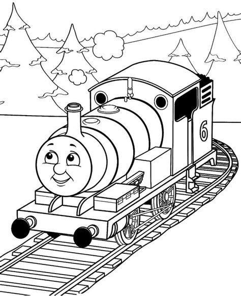 Thomas Percy Train With Tree Coloring Pages Cartoon Percy Coloring Pages