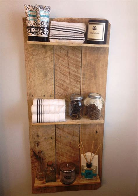 Wooden Bathroom Shelves Rustic And Reclaimed Wooden Shelving Unit