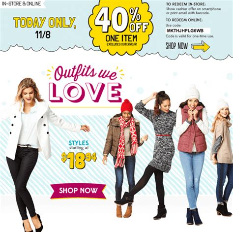 old navy 50 off any one item today only 10 5 13 w old navy canada deals get 40 off 1 item online in