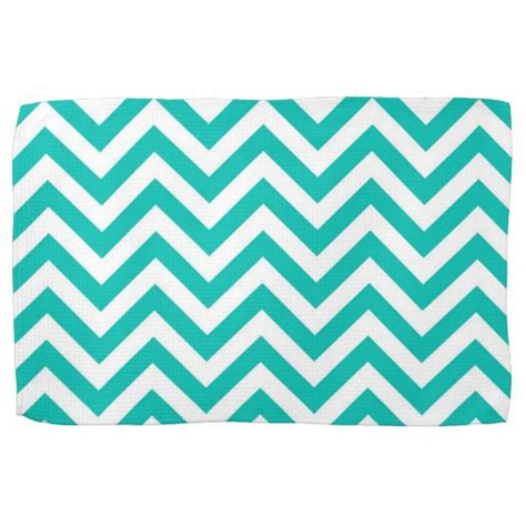 Zig Zag Teal Pattern | teal and white large chevron zigzag pattern hand towels