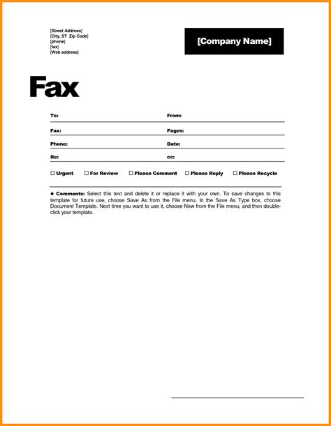 6 download free fax cover sheet template word odr2017