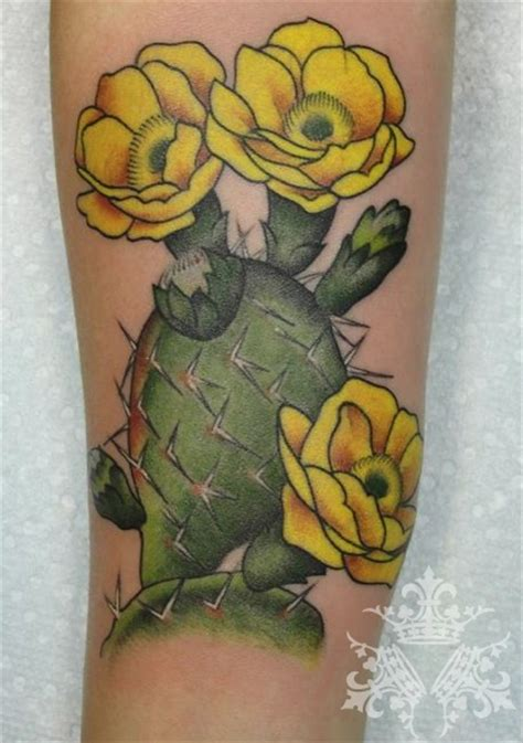 prickly pear tattoo except watercolor with orange red