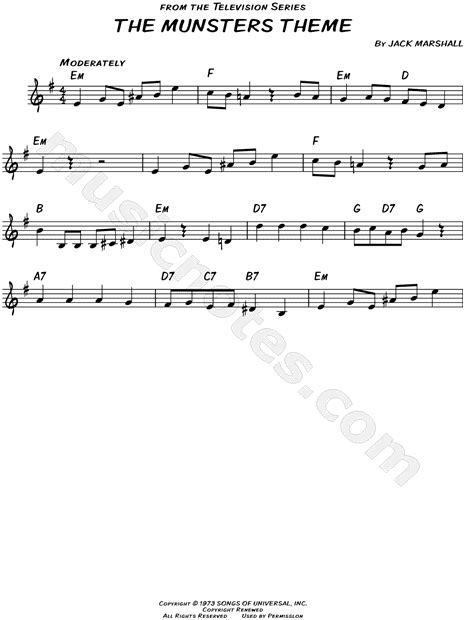 theme song munsters quot the munsters theme quot from the munsters sheet music