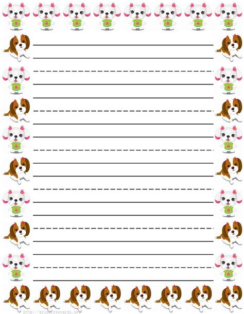 printable writing paper with dogs dogs and puppy free printable stationery for kids primary