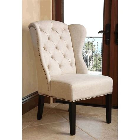 Dining Wing Chair Abbyson Living Kyrra Tufted Linen Wingback Dining Chair In Br Ac1059 Crm