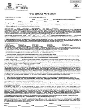 pool service contract template pool service agreement fill printable fillable
