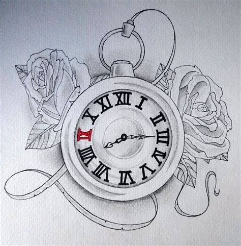 drawn clock old pencil and in color drawn clock