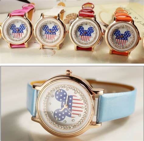 Jam Tangan Flower Pattern Simple Design mickey pattern belts watches student table 191051 pink jakartanotebook