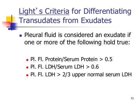 Light Criteria by Gemc Disorders Of The Pleura Mediastinum And Chest Wall