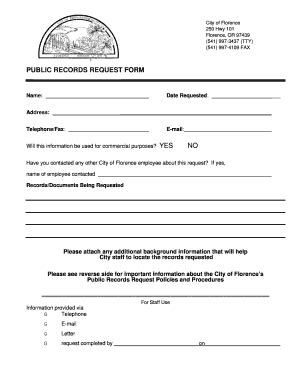 Oregon Records Request Records Request Form Florence Oregon Fill