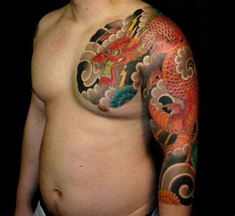 quarter sleeve dragon tattoo 37 best japanese dragon tattoo colors images on pinterest