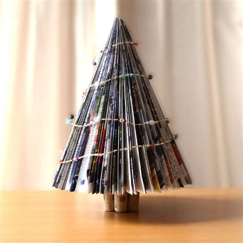 christmas tree from an up cycled magazine or book