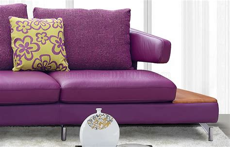 purple leather couch purple genuine italian leather modern sectional sofa w shelves