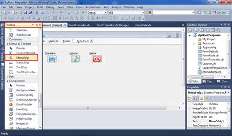 dalam membuat query objects yang utama membuat menu utama pada vb net bangky roesly