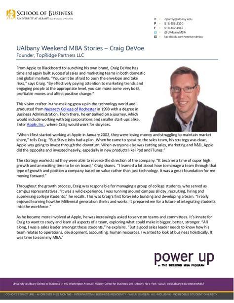 Ualbany Mba Program by Ualbany Weekend Mba Stories Craig Devoe