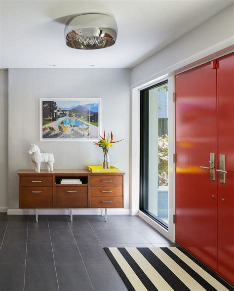 mid century modern interior doors entry midcentury with concrete pavers rustic los angeles
