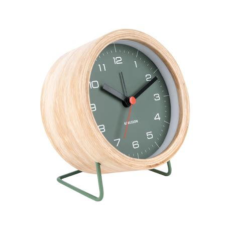 contemporary alarm clock green face wood case