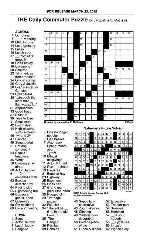 printable dell puzzles sle of the daily commuter puzzle tribune content