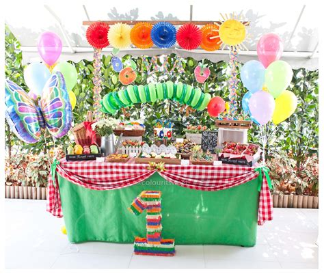 hungry caterpillar birthday party colour  sweet