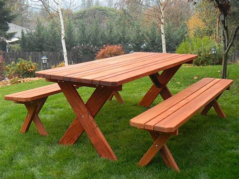 picnic tables with detached benches classic redwood picnic table set gold hill redwood picnic