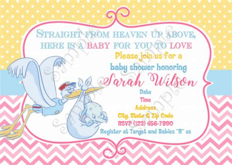 Dumbo Invitation Dumbo Baby Shower Invitation Dumbo Baby Papelpintadodesigns On Artfire Dumbo Invitation Template