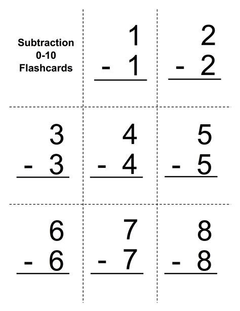 printable flashcards for subtraction subtraction flashcards goalbook pathways