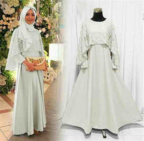 Baju Muslim Princess Tile model baju gamis pesta brokat putih model baju