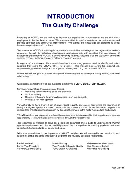 supplier quality manual template volvo supplier quality assurance manualfdf