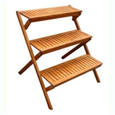 vifah  tiered outdoor wood plant stand   home depot