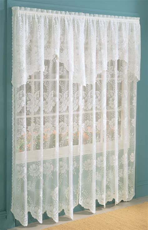 white lace curtain panels anna scalloped lace panels white lichtenberg view all