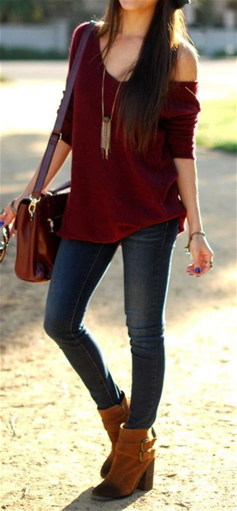 casual style brown boots one sleeve burgundy