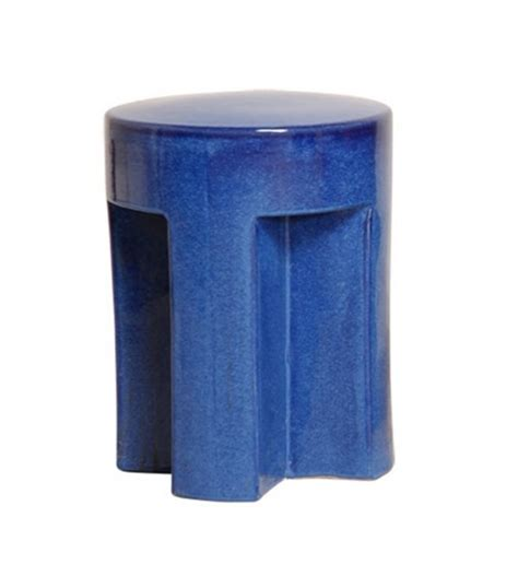 cobalt blue ceramic garden stool table