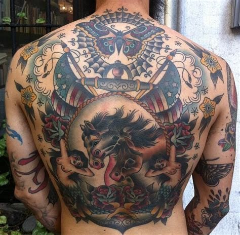 Tattoo Back Traditional | traditional back piece very cool tattoo pinterest
