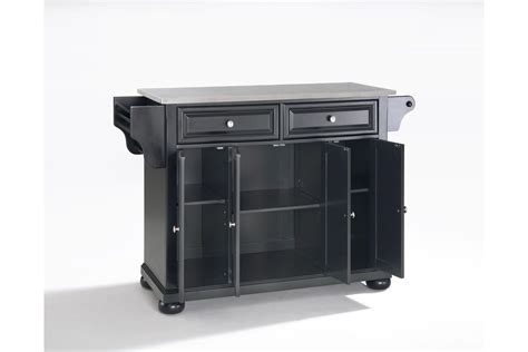 crosley steel kitchen cabinets alexandria stainless steel top kitchen island in black finish by crosley