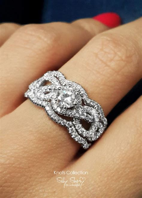 infinity engagement ring with 2 wedding bands semi mount