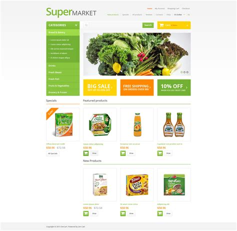 grocery store layout template grocery store zencart template 47069