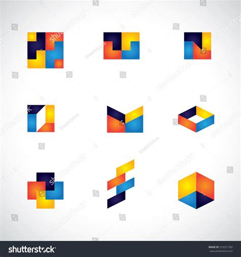 abstract design elements in red and orange colors on black background 27936 borders and frames colorful abstract unusual shapes vector icons stock vector