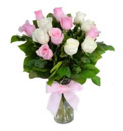 pink and white roses with vase gift flowers hk