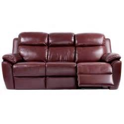Buttoned Sofa Pippin Burgundy Half Leather 3 Seater Recliner Sofa